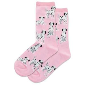 Dalmatian Dogs Hot Sox Women's Crew Socks Pink New Novelty Spotted Woof Fashion