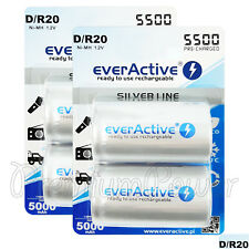 4 x everActive D Size Rechargeable batteries Silver Line 1.2V min 5000mAh Ni-MH
