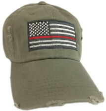 Thin Red Line Hat New Cap Firefighter Support American Flag Olive green fire man
