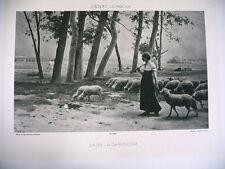 ART phototypie XIXe d'après dans la campagne bergère moutons Henry Lerolle