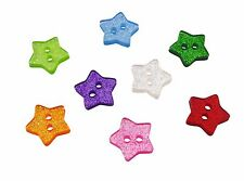 14mm Glitter Star Buttons - 8 Colours & Mixed - Card Embellishments Scrapbooks
