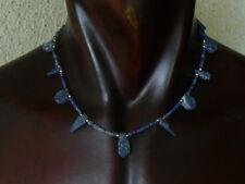 "(eV159) Beautiful UNISEX Necklace Egyptian style, hand carved Lapis beads 18"""