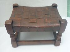 ANTIQUE LEATHER-TOPPED oak STOOL