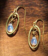 NEW Moonstone Crystal Sundance Charm lightweight gold plated handmade Earrings