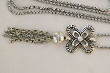 New Altered Brighton Silver & Crystal Pendent Tassel Long Chain Necklace