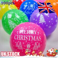 100Pcs Merry Christmas Printed Latex Round Balloons Santa Xmas Party Decors Y8