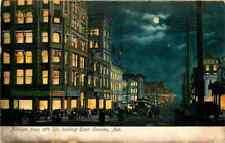 Postcard Farnam East from 16th Street at Night, Omaha, Nebraska - used 1907