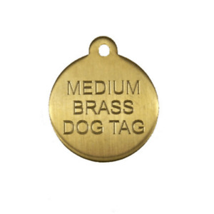 Brass Pet ID Tag Engraved With Your Custom Information Circle 3 Sizes Available