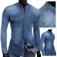 Men's Denim Blue Jean Shirt Grandad Band Collar UK Comfort Fit Front Pockets