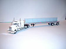 DCP 1/64 WHITE W900 KENWORTH/72'' AEROCAB SLEEPER FLAT BED TRAILER AND I BEAM