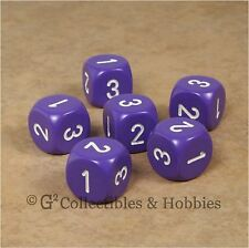 NEW Set of 6 D3 Six Sided 1 to 3 Twice Purple Game Dice D&D RPG 16mm Chessex