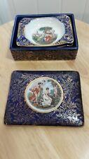 VTG 4 piece Empire England Gold Trim Cigarette Trinket Box and Trays Porcelain