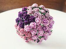 Mulberry Paper Flower 50 pcs. Mini Rose size 1.0 cm Mixed Tone Purple color