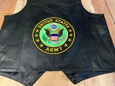 LARGE Vest Motorcycle United States Army Mens Vest Leather Jacket #1629 V2218