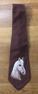 Vintage Botany Regence Painted Horse Brown Necktie Virgin Wool Passaic NJ