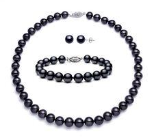 """Black Pearl Necklace Bracelet Earrings Freshwater 14K Clasp 18"""" Inch Set 8-8.5mm"""