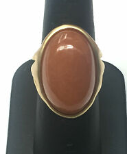 Chunky Ornate Matte Gold Plated Sterling Silver 925 Oval Carnelian Cabochon Ring