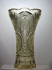 "Antique Rare Bohemian Crystal Cut Glass Yellow Vase - 10"" Tall"