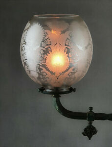 Victorian Crystal Etched Glass Kerosene Paraffin Oil Gas Lamp Shade Baccarat ?