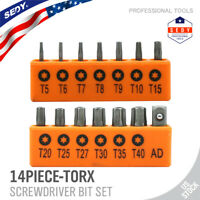 14PC Torx Hex Bit Set Security Tamper Proof Torq Star Resistant S2 Steel T5 -T40