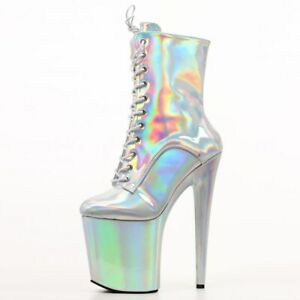 """8"""" Sexy High Heels Platform Mid Calf Boots Party Dance Shiny Slim Boots Shoes"""