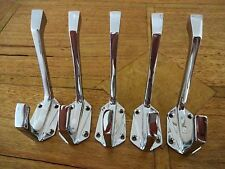 5 CHROME COAT HOOKS ART DECO DOOR