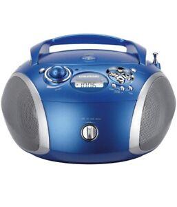 Grundig RCD 1445 Radio (USB 2.0) mit CD/-MP3/WMA Wiedergabe blau/silber Ohne OVP