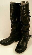 White Mountain Black Tall Knee-Hi Fashion BOOTS Buckle Flat Low Heel Women's 7M