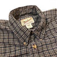 Woolrich Mens Long Sleeve Button Down Flannel Shirt, Large, Green/Black Plaid