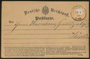 D.Reich Nr. 18 EF Postkarte mit K1 MUSKAU 24.4.73 n. BERLIN (65571)