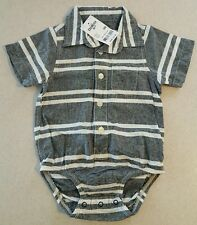 NWT Osh Kosh Infant Boys 9 MONTH Dress Shirt Bodysuit SHORT SLEEVE Gray  #377416