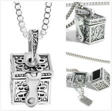 Silver Box Memorial Urn Cremation Charm Pendant Necklace Keepsake Ash Holder New