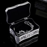 1XFLORAL ENGRAVED TRINKET BOX ANTIQUE SILVER JEWELRY BOX