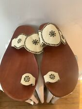 New CALLEEN CORDERO Beige White Leather Studded Flat Sandals Size 10