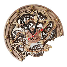 Automaton Bite 1682 woody HANDCRAFTED moving gears unique steampunk wall clock