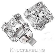 Diamond Earrings for Pierced Ears  2.15ct F VS Princess Cut in 18ct White Gold