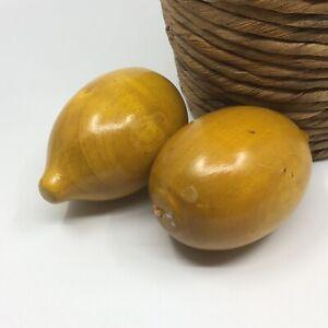 Vintage Handmade Wood Wooden Painted Lemons Fake Fruit