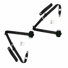 Retro Black 3-Point Front Bench Seat Belts w/Retractors-PAIR 73-91 GM Trucks GMC