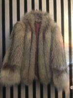 Vintage Natural Fox Fur Cropped Bomber Jacket Size M/L
