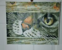 Cat Peaking Threw Fence Completed Paint by Number 16X20 Canvas