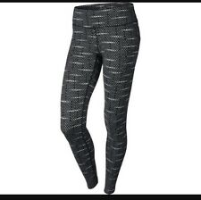 Women's Nike Dri-fit Epic Running Printed Tights Black White Size XS 646215-013