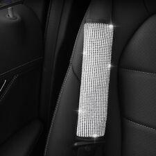 1x Crystal Black Leather Car Seat Belt Safety Seatbelt Shoulder Pads Strap Cover