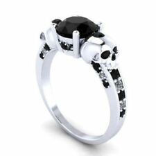 Certified Two Skull 2.50Ct Round Cut Black Diamond Engagement Ring 14K Gold