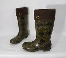 Bogs Alex Women's Swirl Print Tall Brown Rubber Rain Boots Size 9