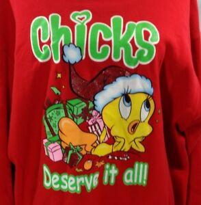 Tweety Bird Christmas Sweatshirt Size 2X Red Chicks Deserve It All Looney Tunes