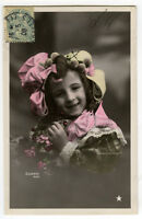 c 1906 Children Chld Kid Cute LITTLE GIRL tinted photo postcard