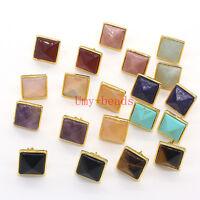 Yellow Gold Plated Natural Quartz Stone Tetragonal Pyramid Stud Earrings Jewelry