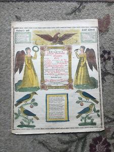Lovely Blumer Printed Fraktur Birth Announcement N.Nazareth Northampton, PA 1849