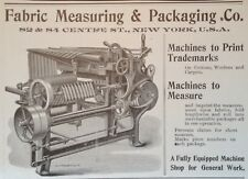 1904 AD(H9)~FABRIC MEASURING & PACKAGING CO. NYC. MACHINES TO PRINT TRADEMARKS