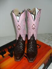 Cowgirl Boots FERRINI Ladies V toe Pink/Chocolate, Size UK 5.5, Heel height 4 cm